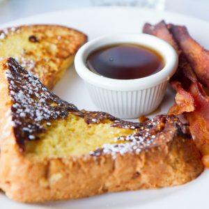 eggy bread and bacon