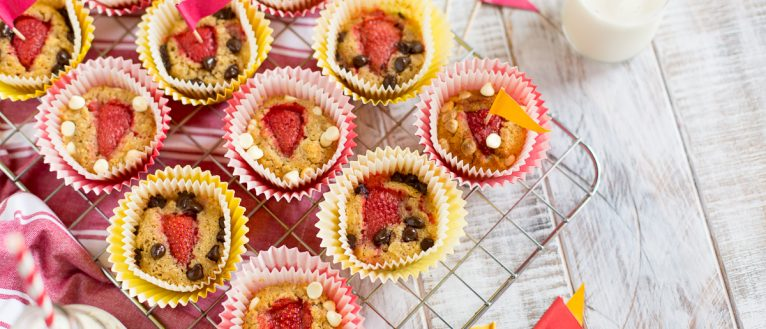 Banana Strawberry Muffins, Kids Cook CLub, recipes for kids